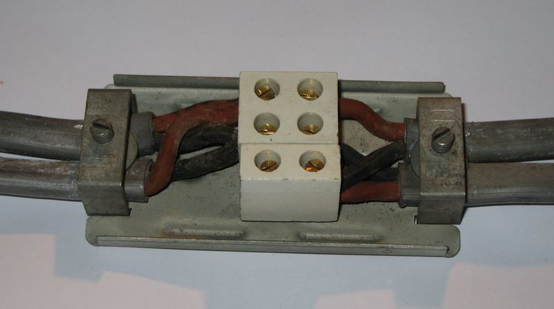 Typical Junction Box used on lead covered wiring systems.