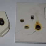 Heat damage to plug & socket caused by poor contact.